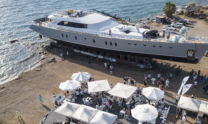 50m motor-sailer yacht 'All About U 2' sees launch in Turkey
