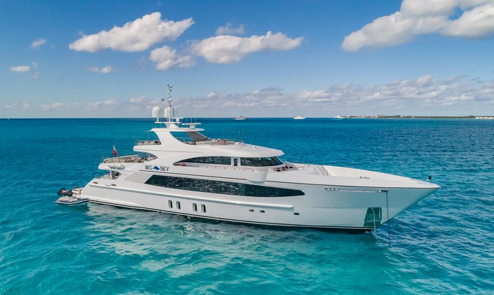 Freshly refitted 48m BIG SKY now available for Bahamas yacht charters