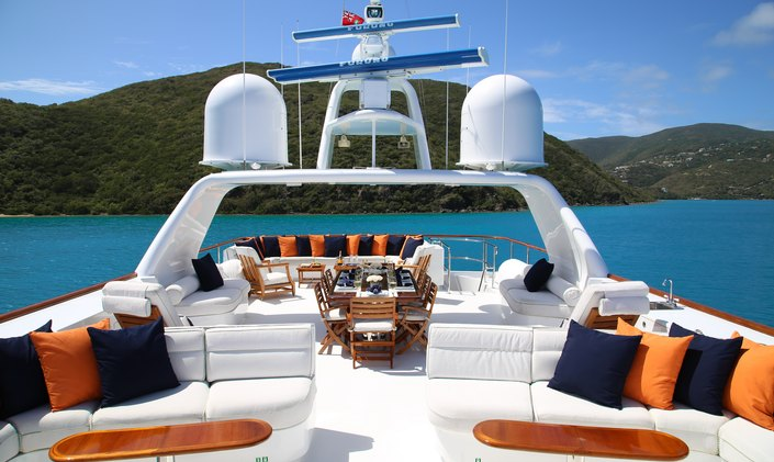Sundeck of superyacht M4