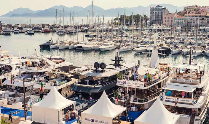 Charter yachts berthed in Cannes main habour