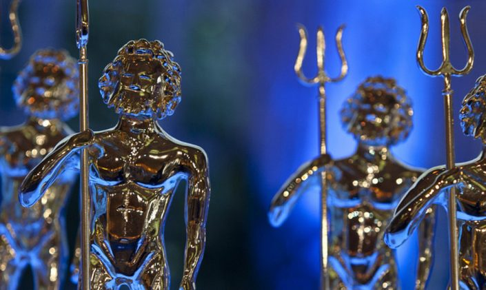 Close up of World Superyacht Awards trophies