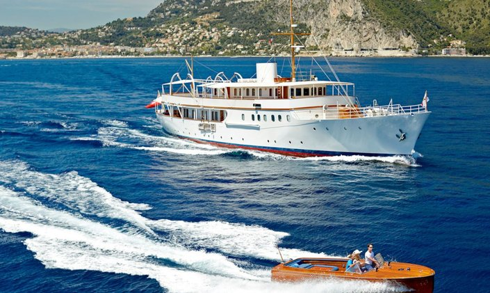 Luxury yacht Malahne in the Mediterranean next to tender