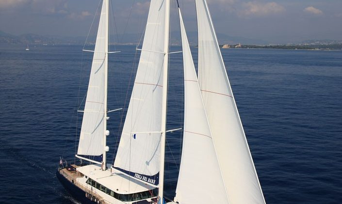 Charter yacht 'Perla del Mare' under sail in Turkey
