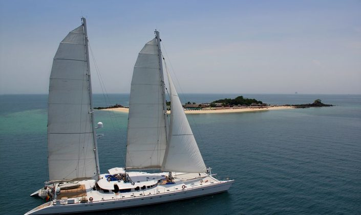 Charter yacht Douce France at anchor in Indonesia