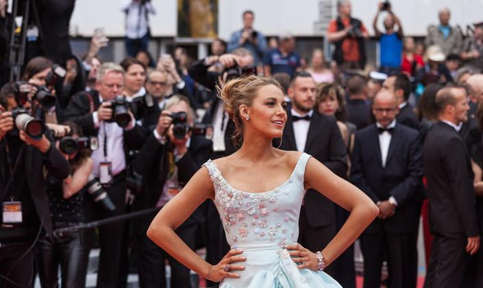 Supermodel on red carpet during Cannes Film Festival