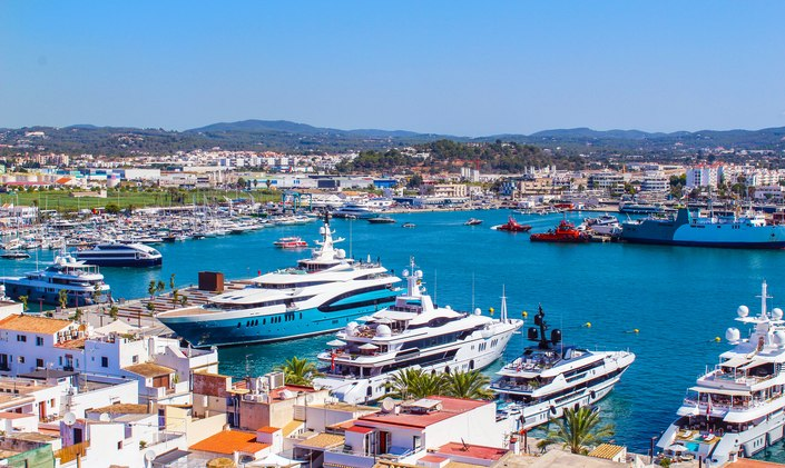 Luxury motor yachts at marina in Spain, Ibiza