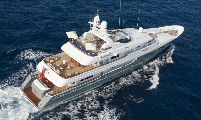 Aerial view of the decks aboard charter yacht Mosaique