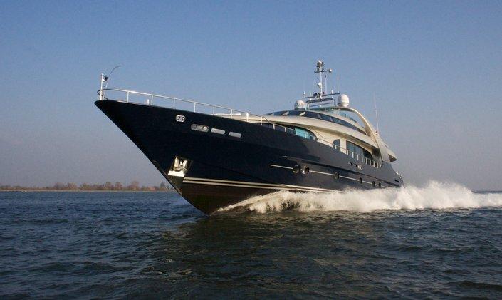 Luxury yacht One Blue profile shot while underway