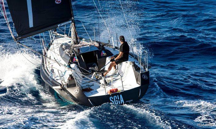 Sailing yacht SCIA underway with Dan Lenard on board