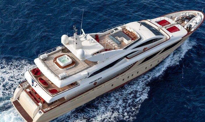 Aerial image of luxury yacht PANAKEIA underway