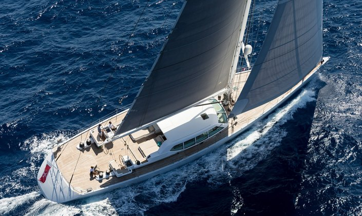 Aerial view of luxury yacht GLISS