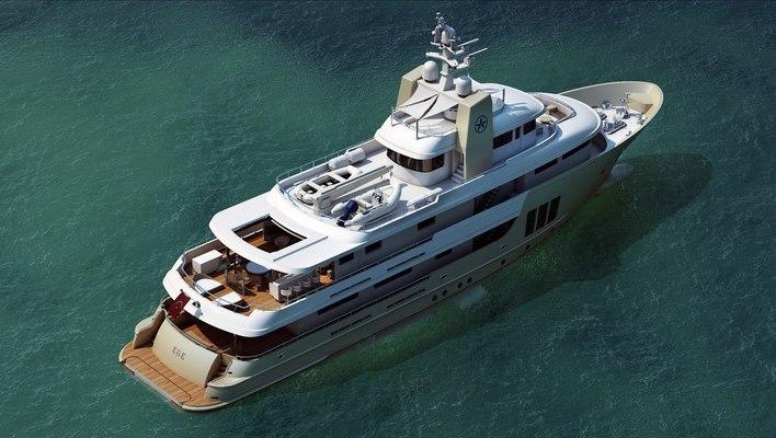 E & E Yacht Aerial View - Decks