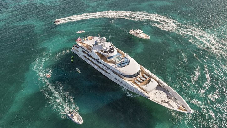 superyacht TRENDING with water toys out on the water during a Caribbean yacht charter
