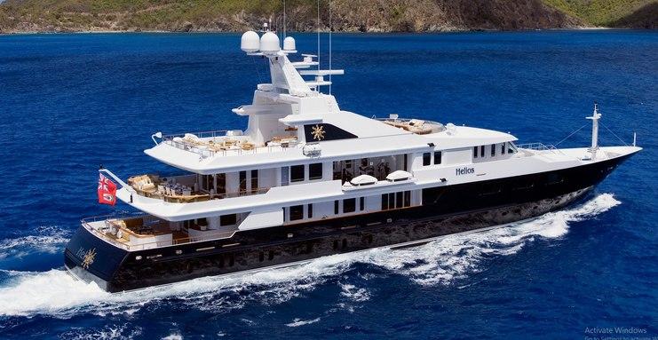motor yacht HELIOS underway during a luxury yacht charter in the Mediterranean
