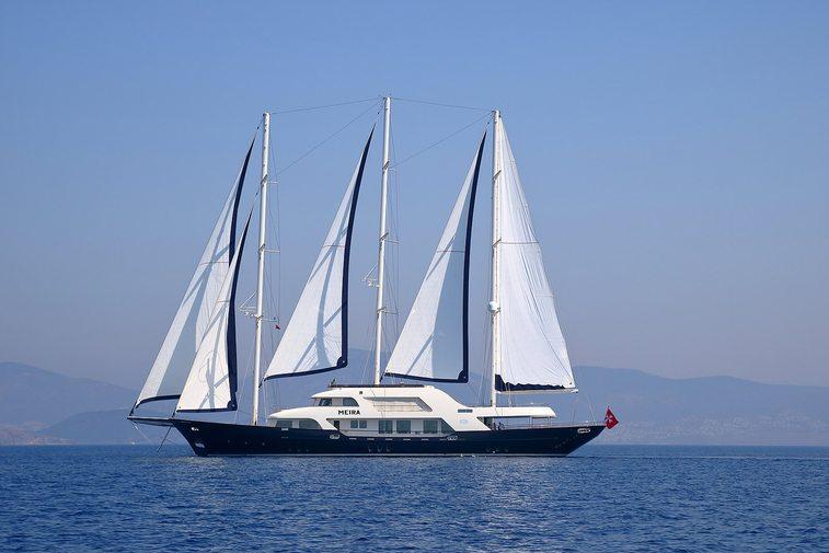 superyacht MEIRA at anchor on a Mediterranean yacht charter