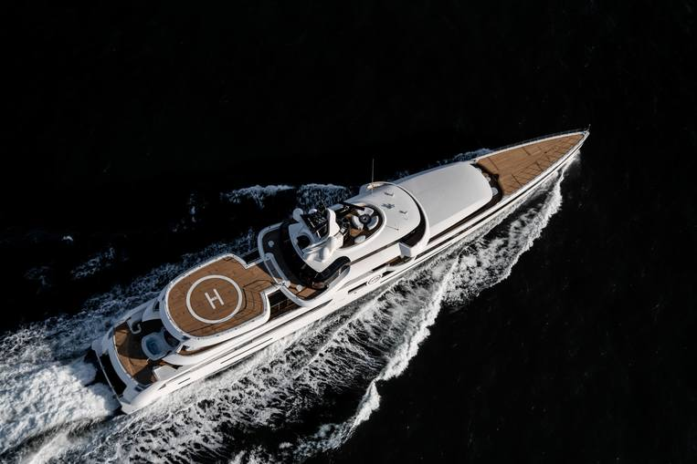 Overhead aerial shot of Feadship LADY S yacht
