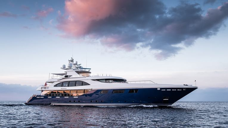 Superyacht ARBEMA cruising on sea with clouds overhead