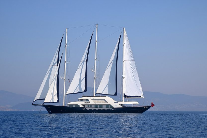 superyacht MEIRA at anchor on a Mediterranean yacht charter