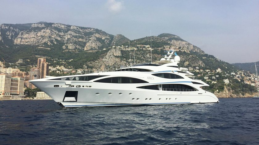 motor yacht Africa I anchored on a luxury yacht charter