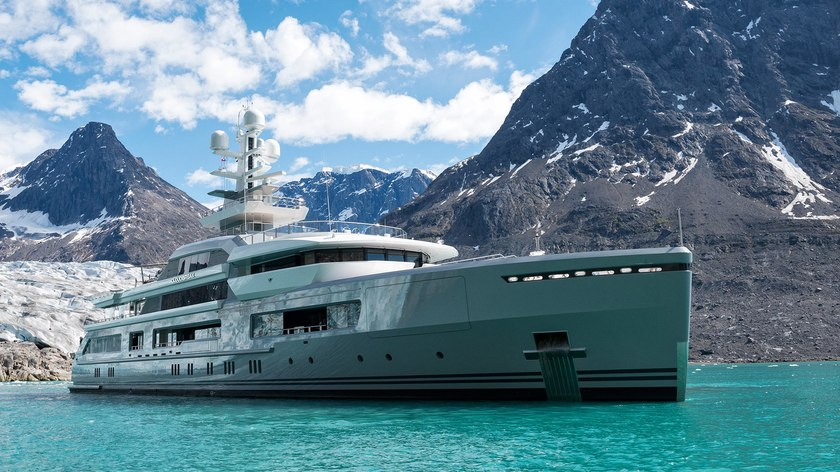 luxury yacht CLOUDBREAK at anchor during a superyacht charter