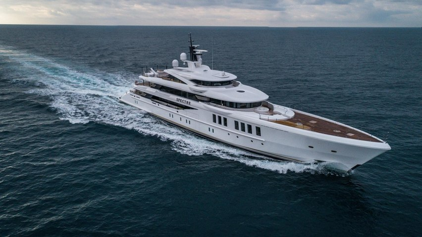 Benetti superyacht SPECTRE cruises fresh from her launch from the yard