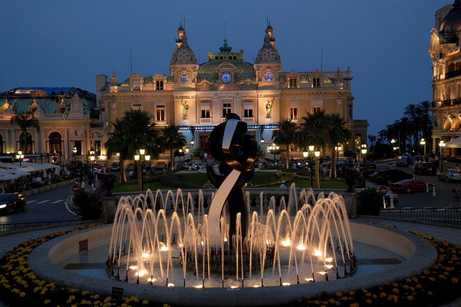 Monaco Fountain at Night
