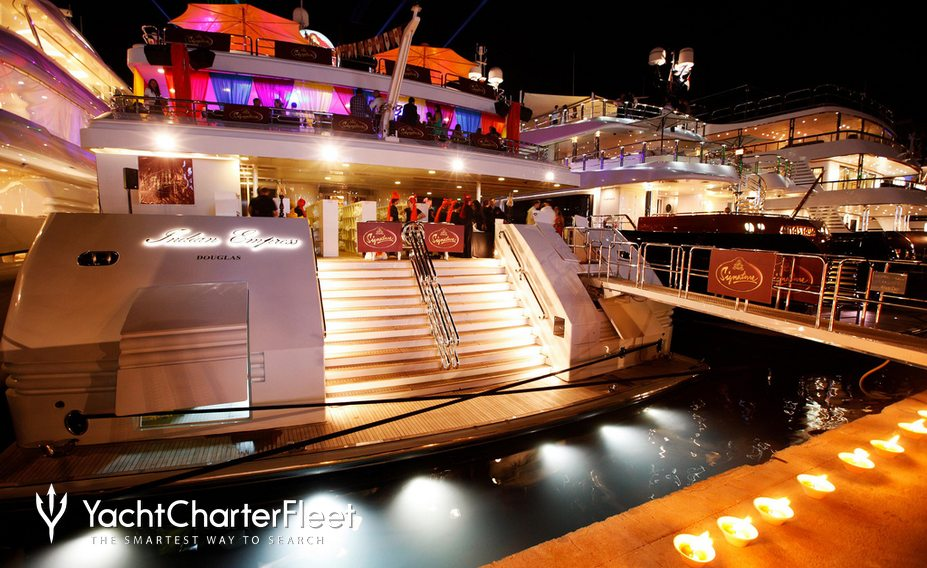 Party at night aboard 95m MegaYacht Indian Empress
