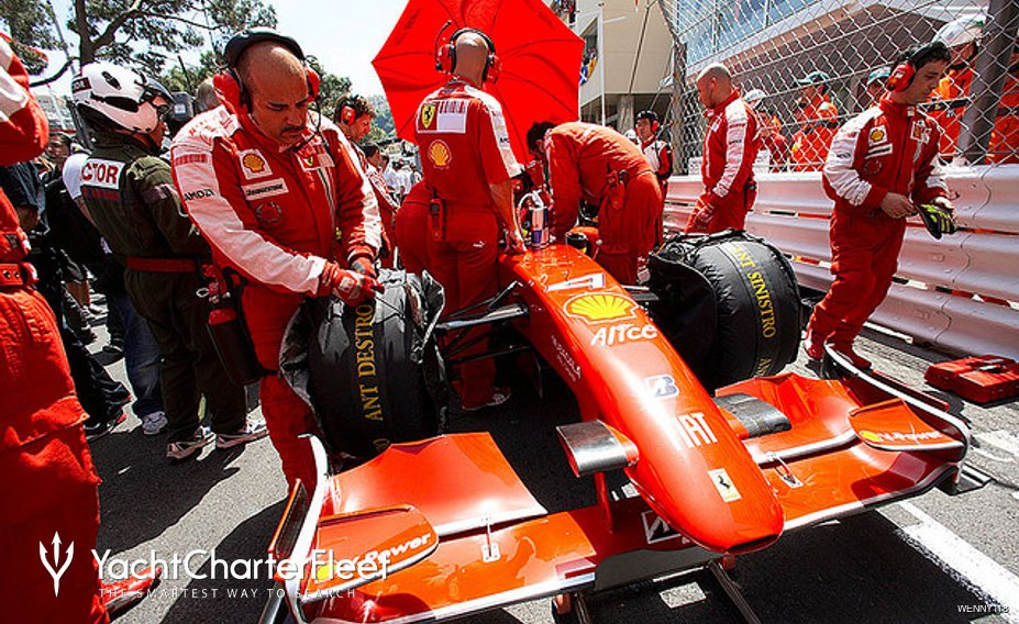 Ferari Formula 1 car before race at Monaco Grand Prix