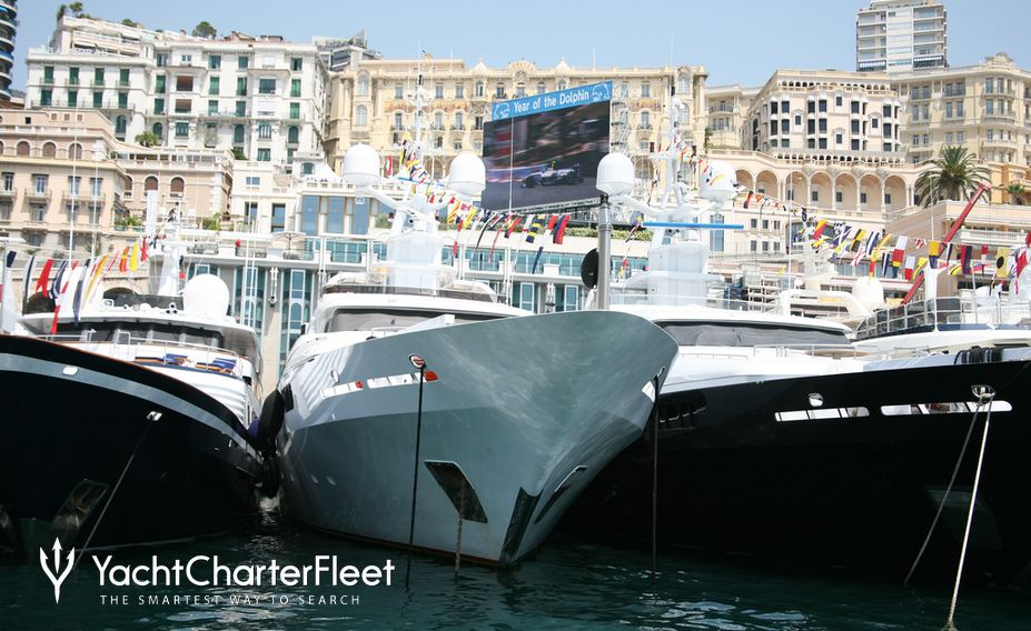Superyachts in Monaco Harbour at Grand Prix