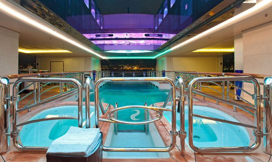 Charter yacht Serene's 15m indoor seawater swimming pool