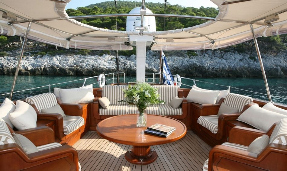 Gitana's aft deck seating