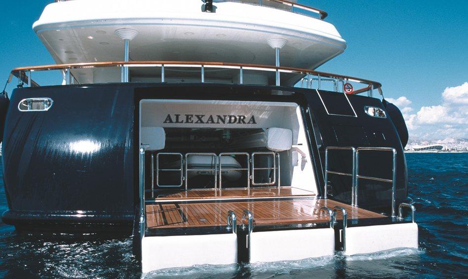 Charter yacht ALEXANDRA's swim platform
