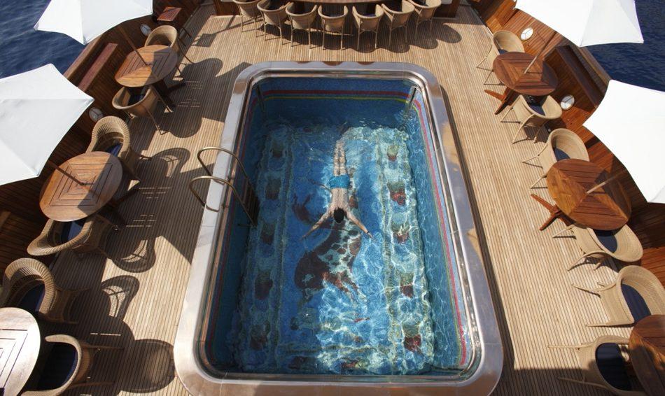 Swimming Pool on board superyacht 'Christina O'