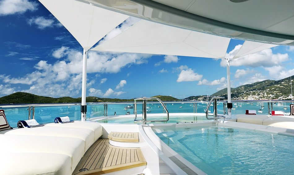 Shaded contra flow swimming pool on superyacht 'TV'