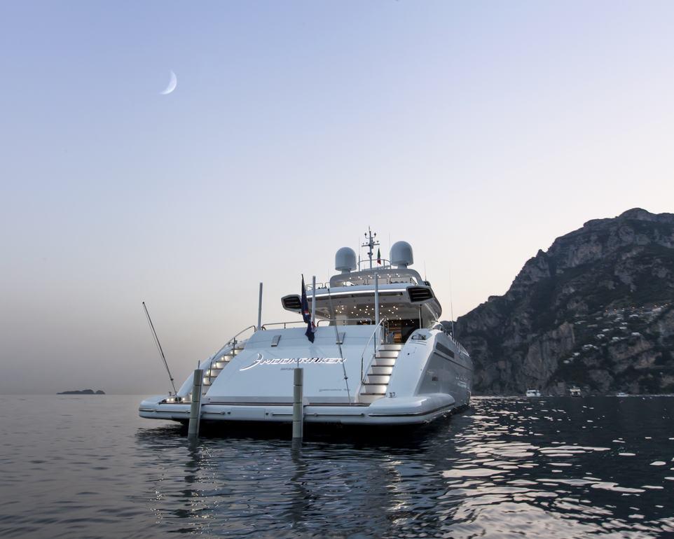 New Superyacht MOONRAKER at Anchor beneath a Dusky