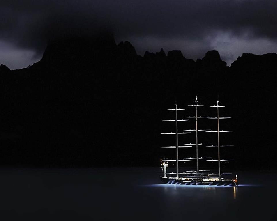 Luxury Sailing Yacht 'Maltese Falcon' Illuminated at Night