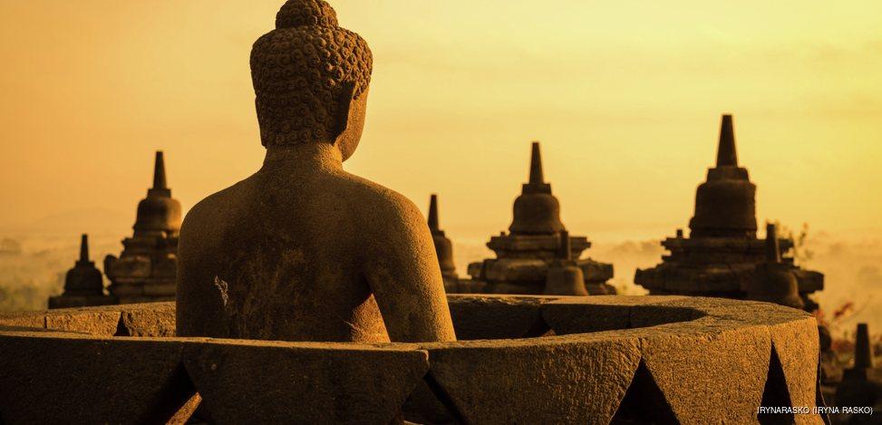 Buddha in Borobudur Temple at sunrise