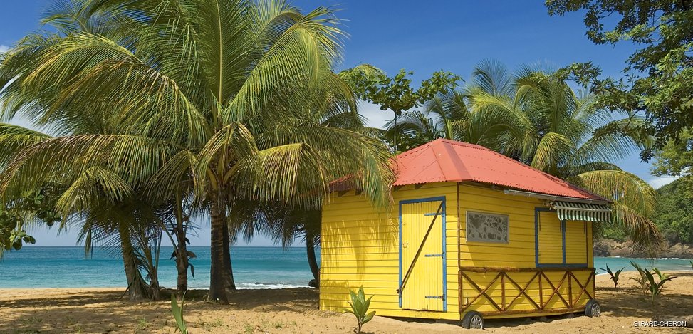Primitive small restaurant among the palm trees on the beach